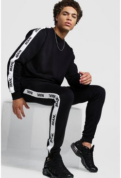 Black Sweater Tracksuit With MAN Repeat Tape