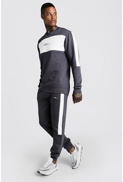 Survêtement sweat skinny colorblock MAN, Anthracite