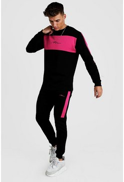 Mens Black MAN Colour Block Skinny Sweater Tracksuit