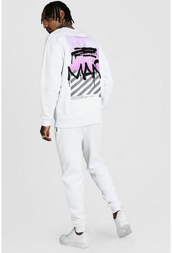 Mens White MAN Graffiti New York Back Print Sweater Tracksuit