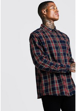 Mens Red Brushed Tartan Check Oversized Shirt