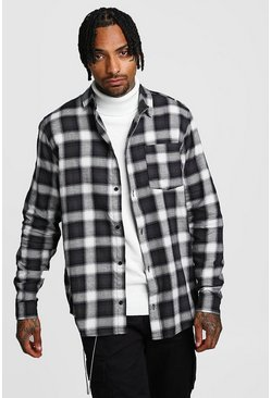 Mens Black Large Brushed Check Oversized Shirt