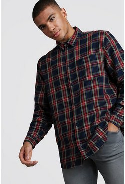 Mens Red Brushed Tartan Longline Shirt