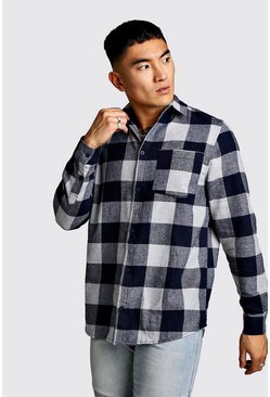 Mens Black Monochrome Longline Check Shirt