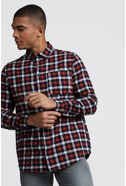 Mens Orange Check Brushed Longline Shirt