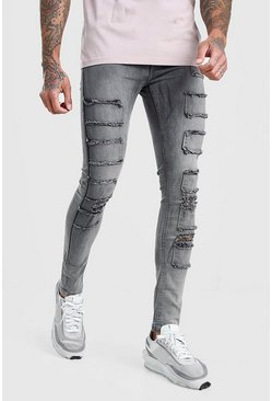 Grey Super Skinny Distressed Patch Jean