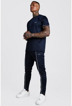 Mens Navy MAN Signature Scuba T-Shirt Tracksuit With Piping