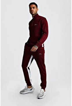 Mens Burgundy MAN Signature Half Zip Tricot Trakcsuit With Panels