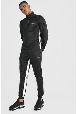 Mens Black MAN Signature Half Zip Tricot Tracksuit With Panels