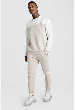 Mens Taupe Original MAN Tonal Colour Block Sweater Tracksuit