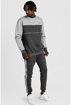 Mens Charcoal Original MAN Tonal Colour Block Sweater Tracksuit