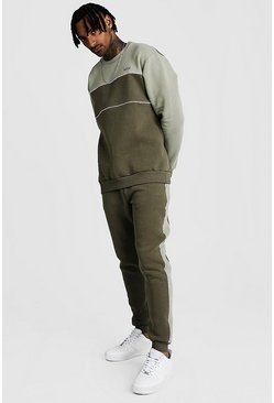 Mens Sage Original MAN Tonal Colour Block Sweater Tracksuit