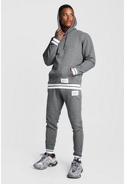 Mens Charcoal MAN Print Hooded Tracksuit With Contrast Rib