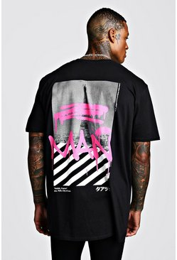 Mens Black Oversized MAN Graffiti Print T-Shirt