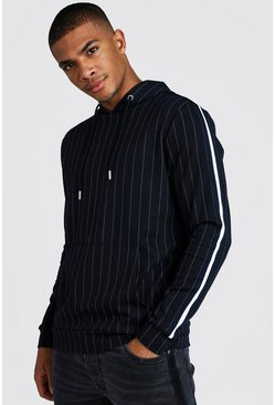 Mens Navy Jacquard Stripe Over The Head Hoodie With Tape