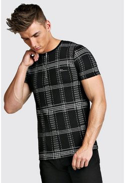 Mens Black MAN Signature Muscle Fit Zip Neck Polo In Check