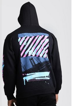 Mens Black Drop Shoulder Graffiti Back & Sleeve Print Hoodie