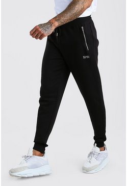 Mens Black MAN Skinny Fit Jogger With Zip Pockets