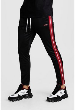 Mens Black Original MAN Print Tricot Red Side Stripe Jogger