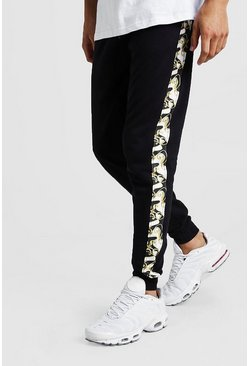 Mens Black Skinny Fit Jogger With Baroque Side Panel
