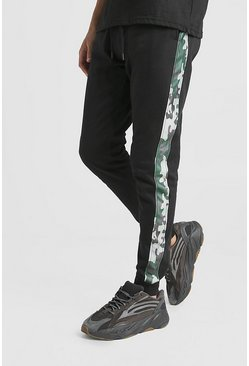 Mens Black Skinny Fit Jogger With Camo Side Detail