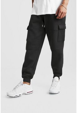 Mens Black Loose Fit Panelled Cargo Jogger