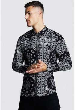 Mens Black Long Sleeve Printed Zip Through Shirt