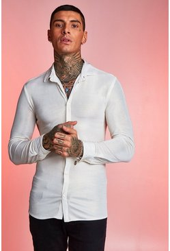 Mens Off white Metallic Muscle Fit Long Sleeve Shirt