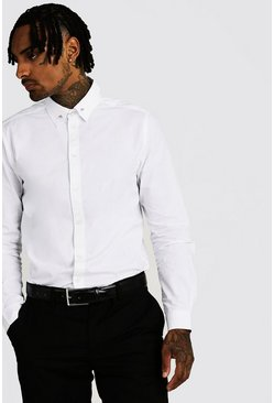Mens White Smart Cotton Shirt With Collar Bar