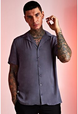 Mens Charcoal Viscose Short Sleeve Shirt