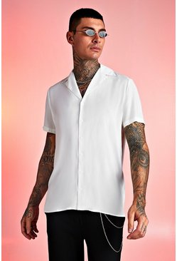 Mens White Viscose Short Sleeve Shirt