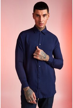 Navy Viscose Long Sleeve Shirt