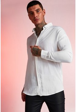 White Viscose Long Sleeve Shirt