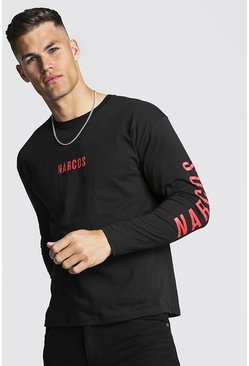 Mens Black Narcos Long Sleeve License T-Shirt