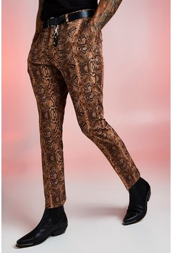 Mens Brown Snake Print Skinny Fit Smart Trouser