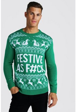 Mens Green Festive Slogan Knitted Christmas Jumper
