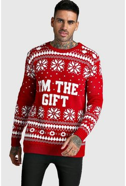 Mens Red I'm The Gift Knitted Christmas Jumper