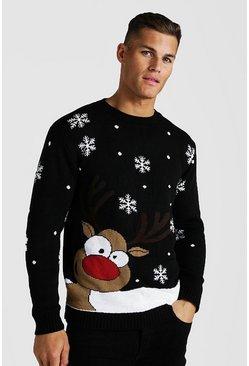 Black Reindeer & Snowflake Knitted Christmas Jumper