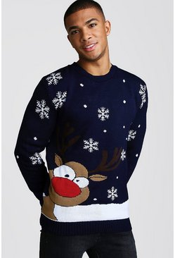 Mens Navy Reindeer & Snowflake Knitted Christmas Jumper