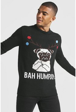 Mens Black BAH Humpug Knitted Christmas Jumper