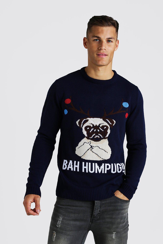 Bah Humpug Knitted Christmas Sweater | boohooMAN