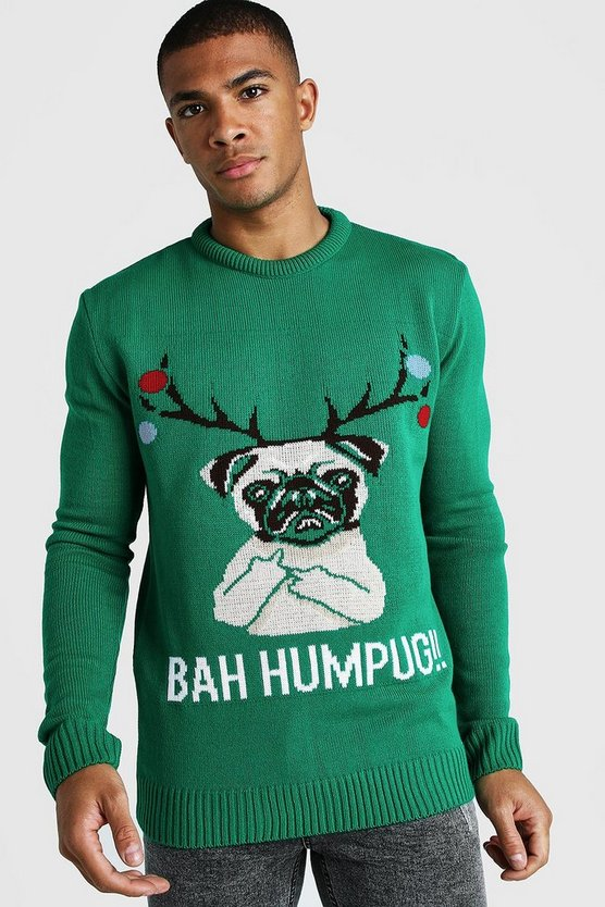 Mens Green BAH Humpug Knitted Christmas Jumper