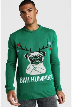 Green BAH Humpug Knitted Christmas Jumper