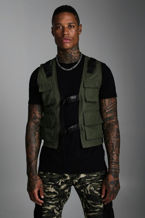 Mens Khaki Nylon Utility Vest With Buckles