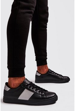 Black Reflective Side Tape Sneakers
