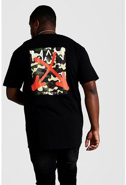 Mens Black Big And Tall MAN Graffiti Arrow Print T-Shirt