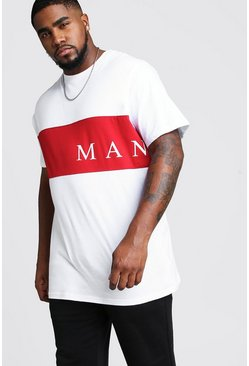 White Big And Tall MAN Contrast Panel T-Shirt