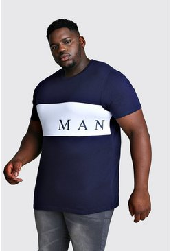 Mens Navy Big And Tall MAN Contrast Panel T-Shirt