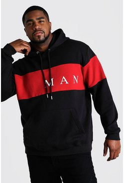 Big And Tall Hoodie mit MAN-Kontrasteinsatz, Schwarz