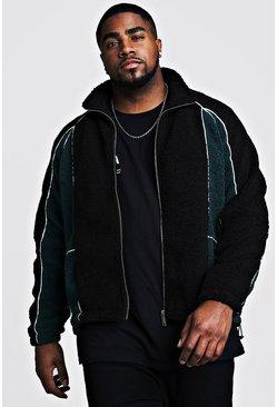 Black Big And Tall Colour Block Borg Jacket